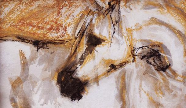 Bílý kůň / kombinovaná technika / 2011 / 22x15 cm