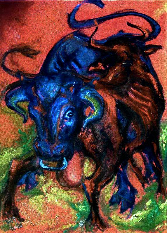 Dva býci / olej na plátně / 2009 / 60 x 45 cm