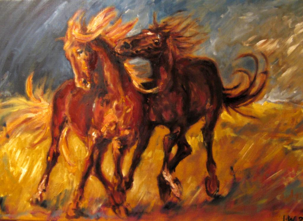 Dva koně / olej na plátně / 2007 / 70 x 50 cm