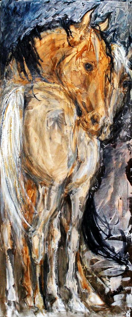 malba dvou koní, obraz na zakázku, ručně malovaný, obraz na stěnu, olej na plátně, malba od umělce, česká malířka, galerie obrazů zvířat, moderní umění, umělecké dílo na prodej