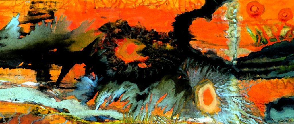 Mikrosvět č. 1 / olej na plátně / 2012 / 100 x 40 cm