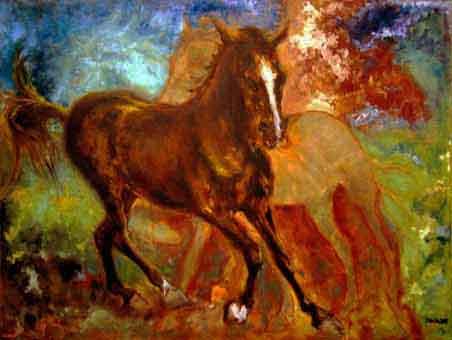 Hajoš / portrét anglického plnokrevníka - závodního koně / olej na sololitu / 2006 / 100 x 70 cm