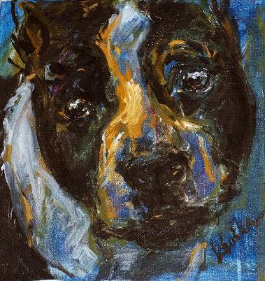 The Wonderful Eyes of Libuška - portrét mé první fenky amerického stafordšírského teriéra / olej na plátně / 2009 / 40 x 40 cm