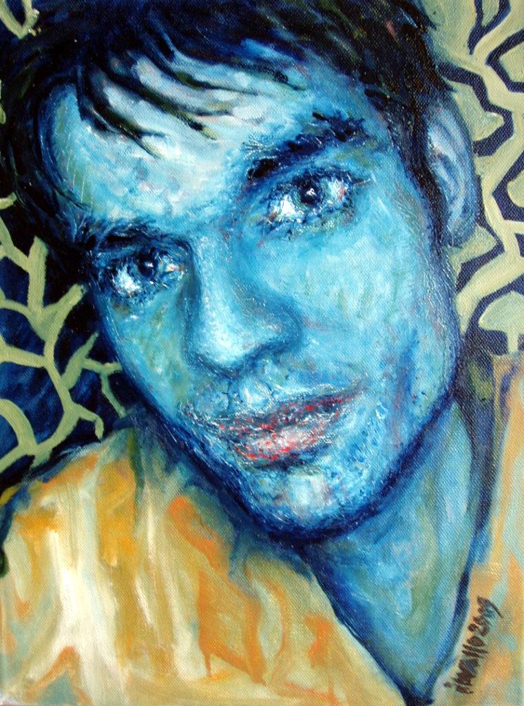 Modrý portrét / olej na plátně / 2009 / 45 x 60 cm