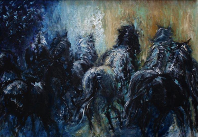 Volnost - Modré stádo / olej na sololitu / 2007 / 160 x 100 cm