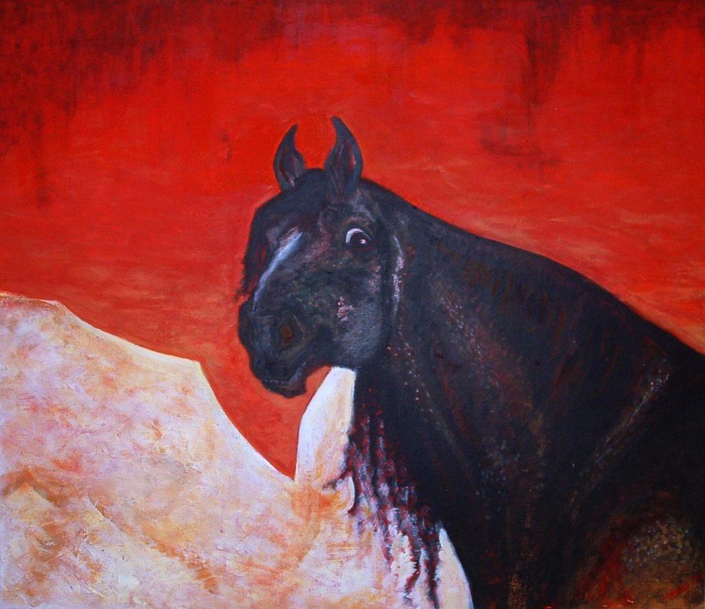 Berberský kůň / akryl a tempera na sololitu / 2006 / 100 x 80 cm