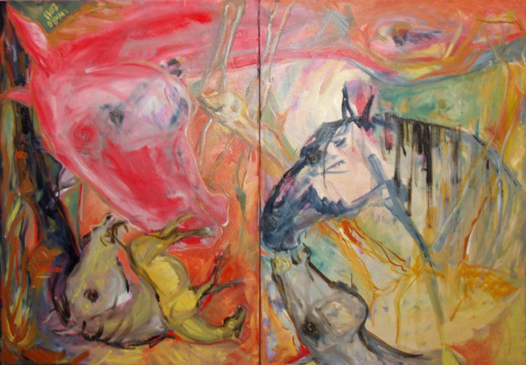 Růžový kůň - mobilní obraz / olej na plátně / 2011 / 140 x 100 cm