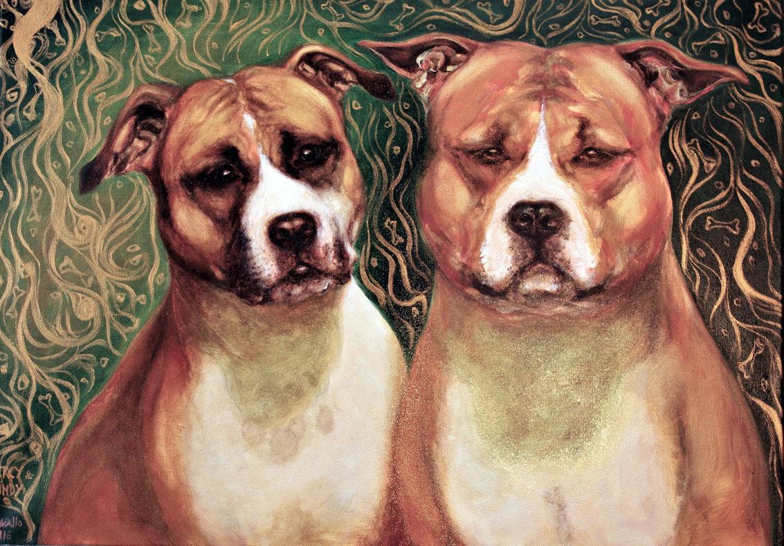 portrét psů, americký stafordšírský teriér, obraz na zakázku, ručně malovaný, obraz na stěnu, olej na plátně, malba od umělce, česká malířka, galerie obrazů zvířat, moderní umění, umělecké dílo na prodej, obraz z fotky