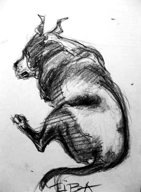 Liba - portrét fenky amerického stafordšírského teriéra / kresba tužkou na papíře / 2003 / 21 x 30 cm