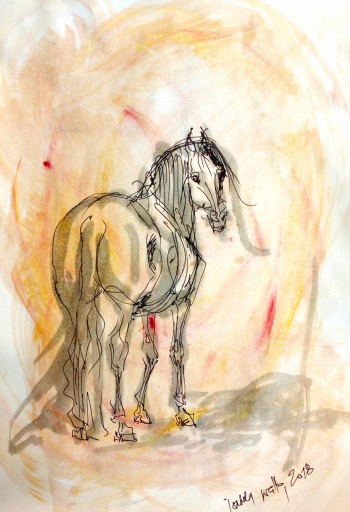 Vánoční kůň s červenou / kolorovaná perokresba / A4 / rámováno ve skle