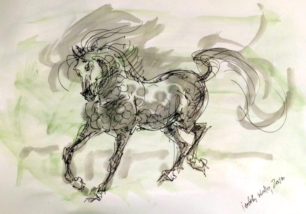 Vánoční kůň se zelenou / kolorovaná perokresba / A4 / rámováno ve skle