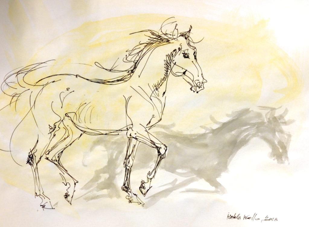 Vánoční kůň se žlutou / kolorovaná perokresba / A4 / rámováno ve skle