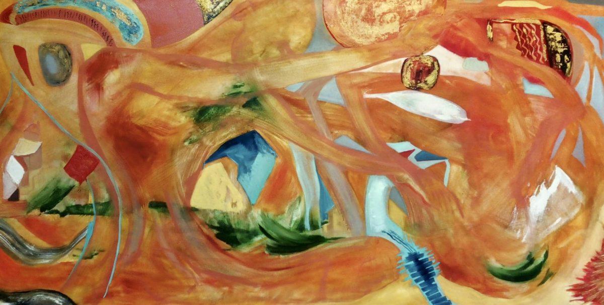 Abstraktní malba na plátně, oranžová, červená, růžová a zlatá.