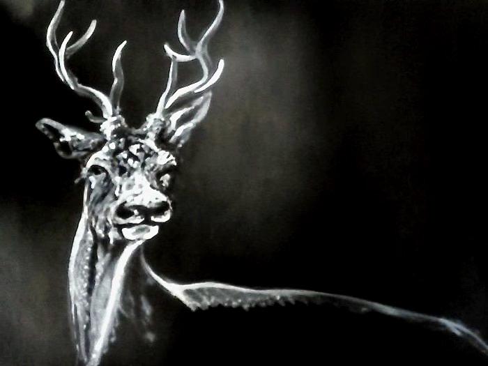 Jelen / série Wild / malba štětcem na kartonu / 2020 / 115 x 75 cm