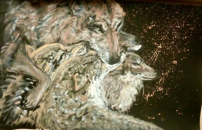 Vlci / série Wild / malba štětcem na kartonu / 2020 / 115 x 75 cm